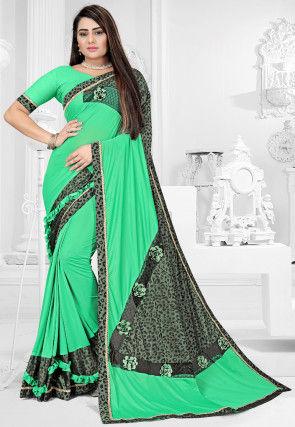 Printed Lycra Saree in Light Teal Green