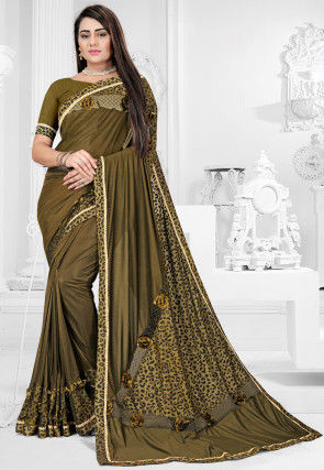 Printed Lycra Saree in Olive Green