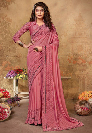 Printed Lycra Saree in Peach
