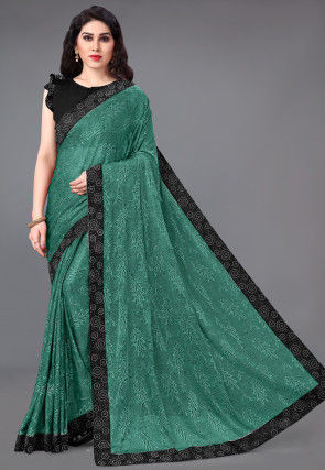 Printed Lycra Saree in Teal Green