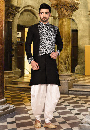 Printed Matka Silk Dhoti Kurta in Black