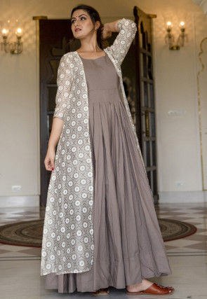 Printed Muslin Cotton Gown in Grey and Off White