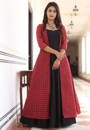 Printed Muslin Cotton Gown in Red and Black