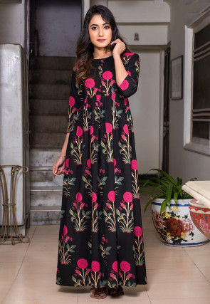 Printed Muslin Cotton Maxi Dress in Black