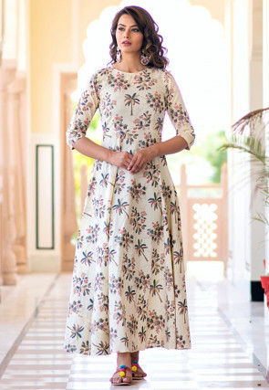 Printed Muslin Cotton Maxi Dress in Cream