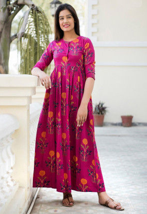 Printed Muslin Cotton Maxi Dress in Fuchsia