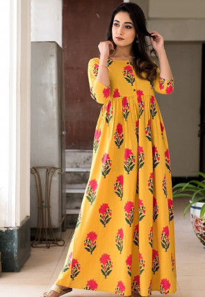 Printed Muslin Cotton Maxi Dress in Mustard