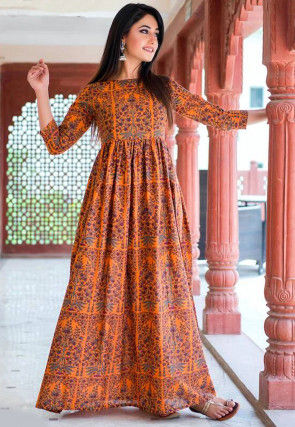 Printed Muslin Cotton Maxi Dress in Orange