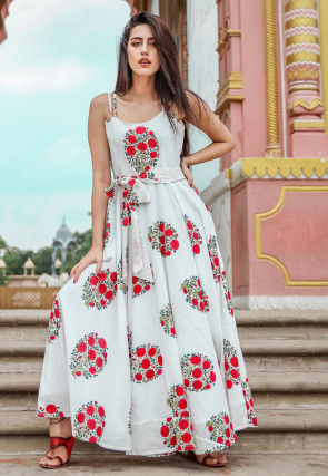Printed Muslin Cotton Maxi Dress with Waist Tie in Off White