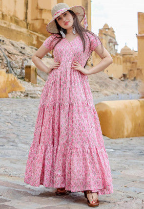 Printed Muslin Cotton Tiered Maxi Dress in Pink