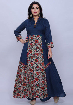 Printed Muslin Silk Abaya Style Suit in Navy Blue and Cream