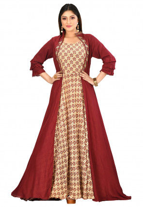 Printed Muslin Silk Gown in Maroon and Beige