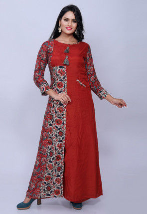 Printed Muslin Silk Gown in Red and Off White