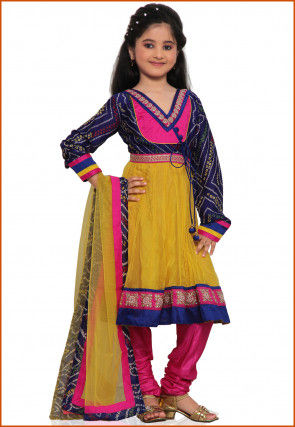 Printed Net Anarkali Suit in Yellow