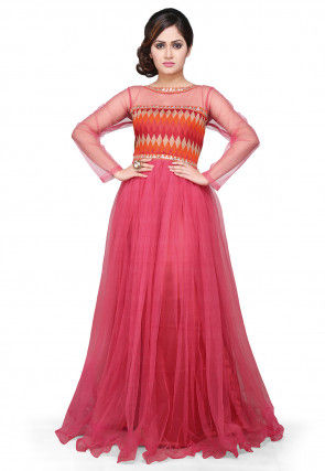 Printed Net and Art Silk Gown In Pink