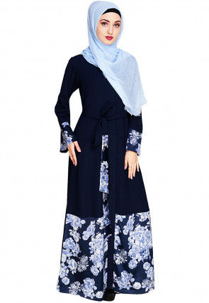Printed Nida Front Open Abaya in Navy Blue