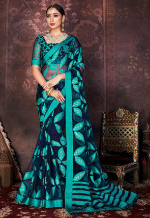 Printed Organza Brasso Saree in Dark Blue and Turquoise