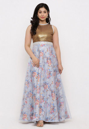 Printed Organza Gown in Light Grey and Copper