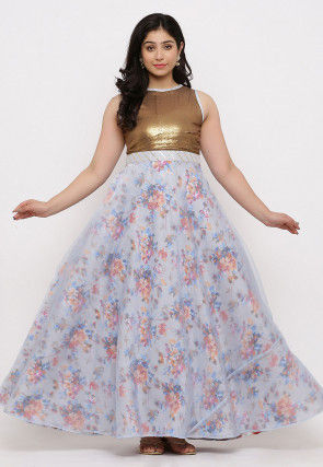 Printed Organza Gown Set in Light Grey and Copper