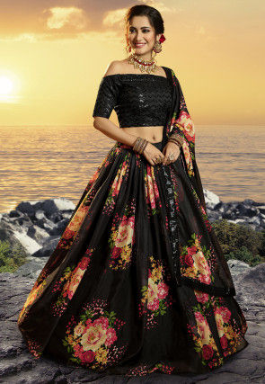 Printed Organza Lehenga in Black