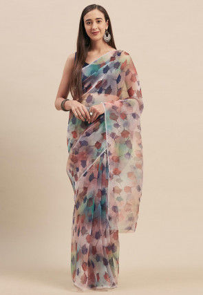 Printed Organza Saree in Multicolor