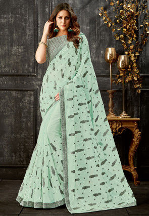 Printed Organza Saree in Sea Green