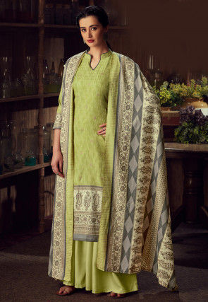 Printed Pashmina Silk Pakistani Suit in Light Green