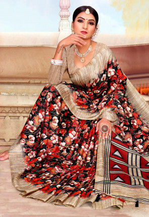 Printed Pashmina Silk Saree in Black and Red