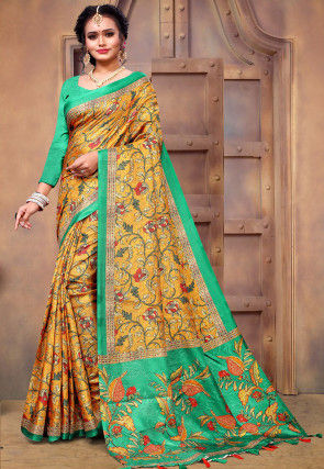 Printed Pashmina Silk Saree in Mustard