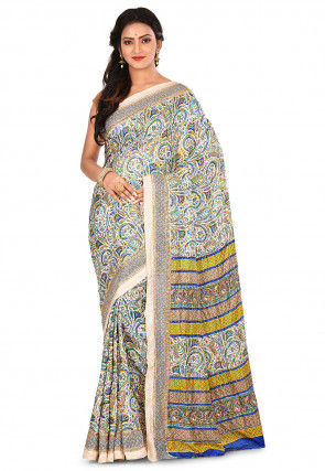 Printed Pashmina Silk Saree in Off White and Multicolor