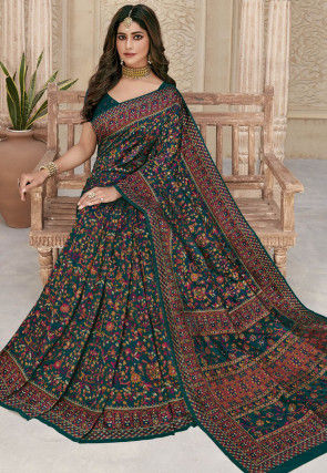 Printed Pashmina Silk Saree in Teal Green and Multicolor