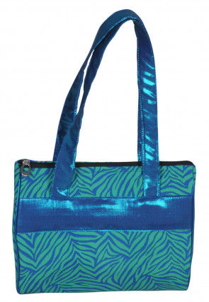 Printed Poly Cotton Hand Bag in Blue