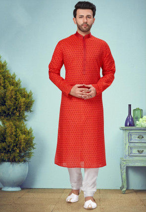Printed Poly Cotton Kurta Set in Red