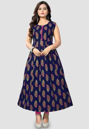 Printed Poly Cotton Pleated A Line Kurta in Navy Blue