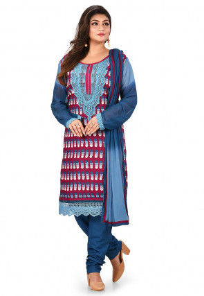 Printed Poly Cotton Straight Suit in Magenta