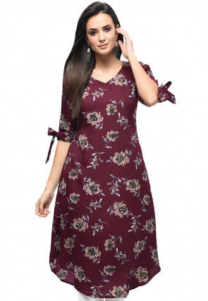 Printed Polyester A Line Tunic in Maroon