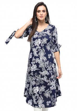 Printed Polyester A Line Tunic in Navy Blue