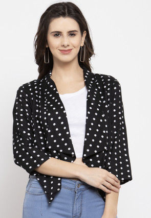 Printed Polyester Asymmetric Shrug in Black