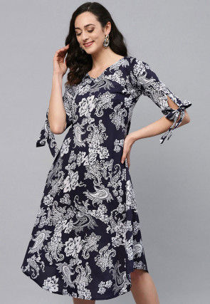 Printed Polyester Dress in Dark Blue
