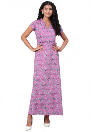 Printed Polyester Dress in Purple