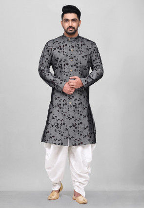 Printed Polyester Lycra Sherwani in Grey