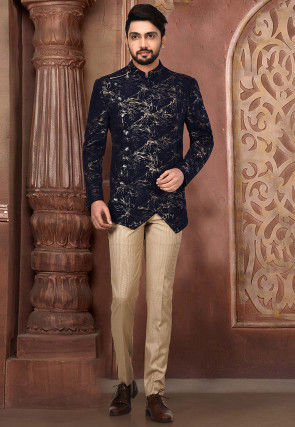 Printed Polyester Lycra Suit Set in Navy Blue