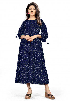 Printed Polyester Midi Dress in Navy Blue