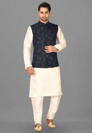 Printed Polyester Nehru Jacket in Black