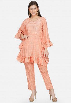 Printed Polyester Ruffled Kaftan Tunic in Peach