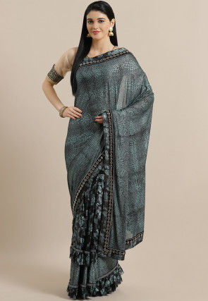 Printed Polyester Saree in Teal Blue