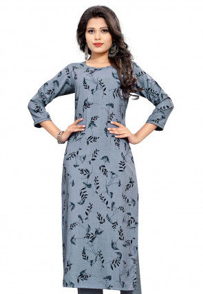 Printed Polyester Straight Kurta in Dusty Blue