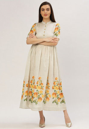 Printed Pure Chanderi Flared Kurta in Off White