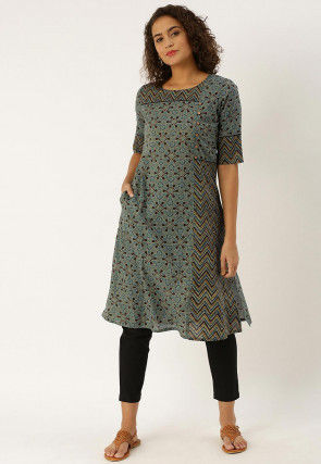 Printed Pure Cotton A Line Kurta Set in Dusty Blue
