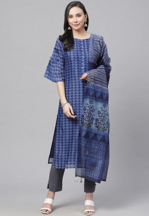 Printed Pure Cotton Pakistani Suit in Blue